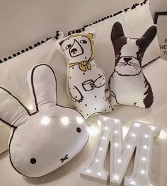 Lovely Cartoon Animals Bear Dog Rabbit Cushion Pillow Baby Calm Sleep Dolls Stuffed Toys For Kids Boys Girls Decoration Room
