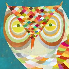 """All Seeing Owl"" Children's Canvas Art by Melanie Mikecz - 18x18 $99, 21x21 $119 