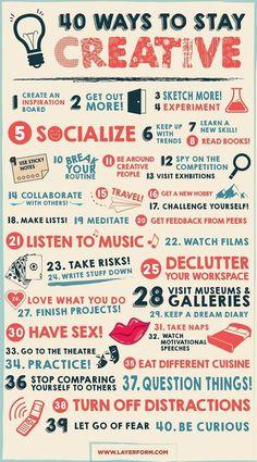 40 moyens pour rester créatif. #Création #Créativité #Inspiration