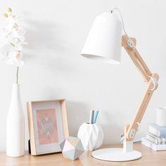 Lampe de bureau en bois et métal blanc H 64 cm SWEDEN
