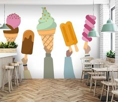 Wall Murals - Wallpaper - U. Delivery Page 2 Ice Cream Art, Ice Cream Parlor, Custom Wall Murals, 3d Wall Murals, Estilo Kitsch, Ice Cream Business, Cream Walls, Cafe Interior Design, Chocolate Ice Cream