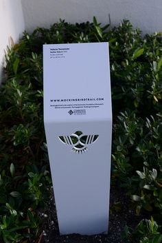 Custom sculpture signage created for the urban art trail, Mockingbird Trail in Fort Lauderdale