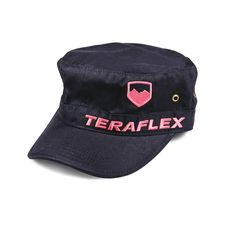 The TeraFlex cadet cap has a pink front embroidered TeraFlex logo on washed 100% cotton twill with unstructured front panels and hook and loop rear closure. black color, one size fits most.