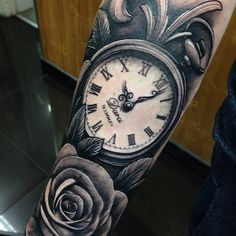 pocket watch tattoo and roses - Google Search