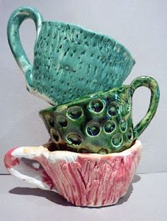 Inspired by Alice in Wonderland's the Mad Hatter's Tea Party, these cups are also a lesson in texture