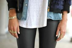Leather leggings + chambray.