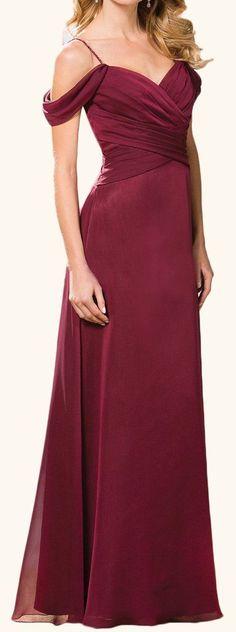 MACloth Off the Shoulder Chiffon Long Bridesmaid Dress Burgundy Formal Gown