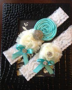 Wedding Garter Tiffany Blue Garter Set Vintage by SimplySerendipty, $29.00