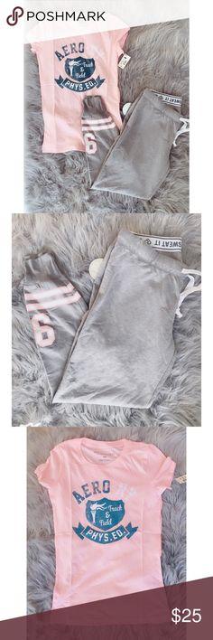 28fc00cb101 Set Aeropostale pants and t-shirt sz S new pink Set of 2 pieces