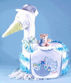 New Arrival!! Large Stork Baby Boy Diaper Cake!