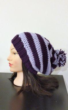 Purple Striped Slouchy Beanie w/ Pom Pom by TikosPlace on Etsy