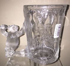 1997 Crystal Coca-Cola Polar Bear Shaped Handle Mug Cup Stein 18oz #CocaCola