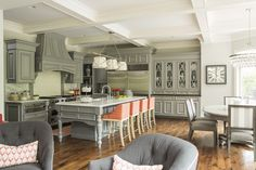 Martha O'Hara Interiors - kitchens - Hirshfield - Metro - Grosvenor Three - Light Downlight, stainless steel fridge, stainless steel refrige...