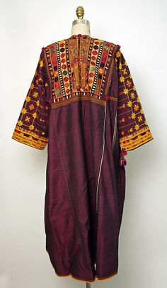 Dress (rear view), 20th century, Middle Eastern, silk