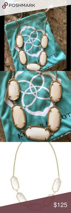 Kendra Scott Mother of Pearl Noelle Necklace Retired Vintage piece in mint condition Stones are small like an Elle. Similar to a Valencia necklace but small stones comes in dust bag Kendra Scott Jewelry Necklaces