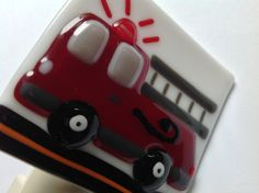 Boys Fire Truck Night Light Fused Glass by LaGlasSea on Etsy