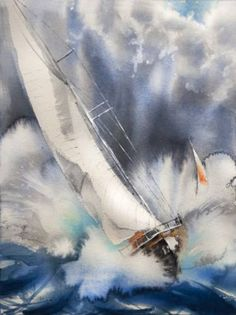 View Olga Flerova's Artwork on Saatchi Art. Find art for sale at great prices from artists including Paintings, Photography, Sculpture, and Prints by Top Emerging Artists like Olga Flerova. Watercolor Landscape, Abstract Watercolor, Landscape Art, Landscape Paintings, Watercolour, Abstract Art, Sailboat Art, Sailboat Painting, Sailboats