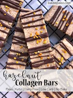 Hazelnut Collagen Bars | These hazelnut protein bars are Paleo, Keto and dairy free.  Made with dry roasted hazelnuts, shredded coconut and collagen peptides. #collagenbars #proteinbars #keto #paleo #ketosnack Low Carb Protein Bars, Protein Bar Recipes, Protein Cake, Healthy Dessert Recipes, Whole Food Recipes, Healthy Protein, Protein Muffins, Protein Cookies, Paleo Treats