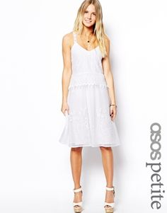 ASOS PETITE Exclusive Premium Drop Waist Dress In Pretty Lace