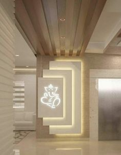 Wonderful Tips: False Ceiling Lights Offices false ceiling grey. Pooja Room Door Design, Foyer Design, Lobby Design, Entrance Design, Wall Design, House Design, Home Interior Design, Interior Decorating, Interior Rendering