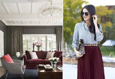 Moda + Décor | Marsala. Veja: http://www.casadevalentina.com.br/blog/detalhes/moda-+-decor--marsala-3116 #decor #decoracao #interior #design #casa #home #house #idea #ideia #detalhes #details #estilo #casadevalentina #color #cor #marsala #livingroom #saladeestar