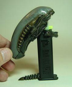 """Custom-made Alien Pez Dispenser by Peter """"Rat D"""" Davidson."""