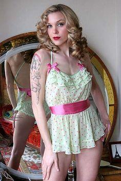 Lisa's Folly Poppy Silk Chiffon Retro Apron Doll