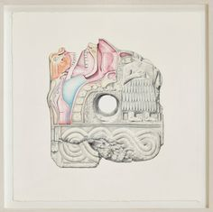 The artist opens a small show of drawings and ceramics that explores themes of capitalism.