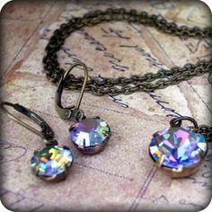 Glitz N Glam: vintage swarovski crystal necklace and earring set