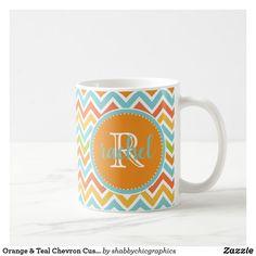 Orange & Teal Chevron Custom Monogram Large  Mug - Modern Chevron, Zigzag Pattern in retro colors. #chevron #pattern #monogram #zazzle #personalized #custom #trendy #teal #orange