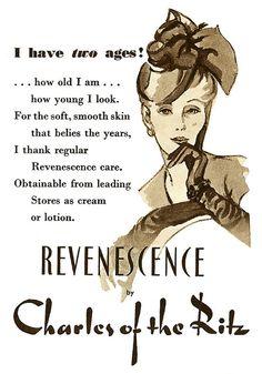 Revenescence skin care ad, 1950. #vintage #beauty #1950s #ads