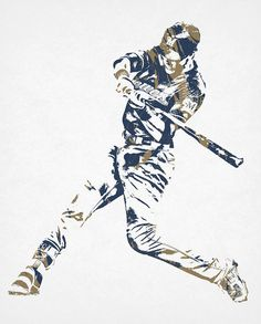 Christain Yelich Milwaukee Brewers Pixel Art 2 Art Print by Joe Hamilton. All prints are professionally printed, packaged, and shipped within 3 - 4 business days. Baseball Painting, Joe Hamilton, Rockies Baseball, Christian Yelich, Thing 1, Mlb Players, Poster Prints, Art Prints, Milwaukee Brewers