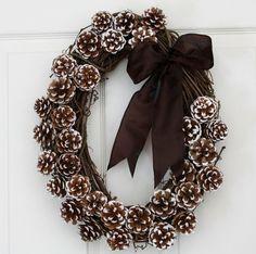 Oval pine cone wreath.