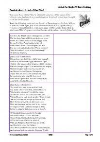 An extension worksheet on the links between 'Paradise Lost' and 'Lord of the Flies'. Aimed at higher ability students. Gcse English Literature, Biblical Names, William Golding, English Lessons, English Class, Class Projects, Studyblr, Secondary School, Teaching Resources