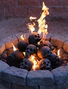 These Creepy Fireproof Human Skull Logs Is The Coolest Fireplace Accessory Ever