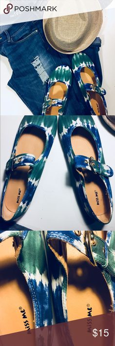 > Tie dye ballet style shoes < Brand New green & blue tie dye shoes Gold buckle Size 10 Made in China Shoes Flats & Loafers