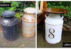 DIY Side Table made from repurposed milk jugs