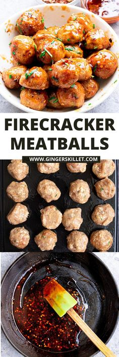 Spicy Chicken Meatballs aka Firecracker meatballs recipe with step-by-step instructions. These spicy and sweet twice-baked chicken meatballs are super easy to make and tastes delicious as an appetizer or in a meal!      #meatballs #firecrackerchicken #firecracker #chicken #chickenmeatballs #firecrackermeatballs Firecracker Meatballs, Firecracker Chicken, Baked Chicken Meatballs, Chicken Meatball Recipes, High Protein Recipes, Protein Foods, Appetizer Recipes, Dinner Recipes, Appetizers