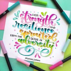 Calligraphy Quotes Doodles, Brush Lettering Quotes, Brush Pen Calligraphy, Hand Lettering Alphabet, Watercolor Lettering, Canson, Marker Paper, Hand Lettering Tutorial, Banners