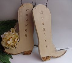 Rustic Wedding Cowboy and Cowgirl Boots Chair by willowroaddesigns.... possibly on the bathroom doors