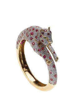 Diamond, Ruby, and Gold Leopard Bracelet