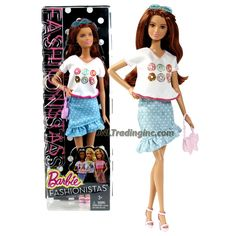 Mattel Year 2014 Barbie Fashionistas Series 12 Inch Doll - SUMMER (CLN69) in White Tops and Blue Polka Dots Skirt with Sunglasses and Purse