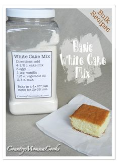 Bulk White Cake Mix - This recipe makes baking from scratch a snap.  It is super moist and will make the perfect foundation for your favorite frosting.  If you'd prefer a yellow cake mix just substitute the regular shortening for butter flavored shortening and you'll have a lovely golden buttery cake.