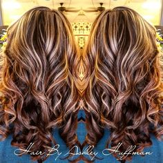 Chocolate Cherry Brown Hair With Chamomile Blonde Highlights Night & Day Hair Color