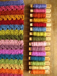 Cosy Blanket - love the use of labeled clothes pins - what a great way to keep a sample of each color for future use. Yarn Color Combinations, Colour Schemes, Colour Chart, Crochet Yarn, Crochet Hooks, Crochet Blankets, Crochet Afghans, Temperature Afghan, Manta Crochet