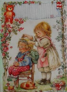 Lisi Martin is a Spanish artist and illustrator famous for her highly detailed and romanticized pictures of children. Lisi was born in Barcelona, Catalonia in Sarah Kay, Christmas Art, Vintage Christmas, Pictures To Paint, Cute Pictures, Spanish Artists, Holly Hobbie, Vintage Artwork, Vintage Cards