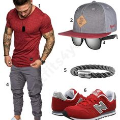 Casual men& outfit in gray and red for summer - outfits Casual Männeroutfit in Grau und Rot für den Sommer – Casual men& outfit in gray and red for summer - Casual Wear For Men, Casual Summer Outfits, Mode Masculine, Men Street Outfit, Tomboy Fashion, Mens Fashion, Vetements Shoes, Tomboy Stil, Men Accessories