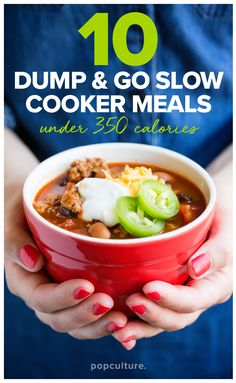 10 healthy and easy recipes for your slow cooker — just dump the ingredients in and GO! Perfect for busy families. Popculture.com #crockpot #crockpotrecipes #healthyeating #healthyrecipe #family #healthyliving #dinners #dinnerideas #recipes  #healthyrecipe #lowcalorie #slowcooker