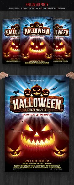 Halloween Flyer — Photoshop PSD #halloween fb cover #Halloween carnival • Available here → https://graphicriver.net/item/halloween-flyer/17982140?ref=pxcr