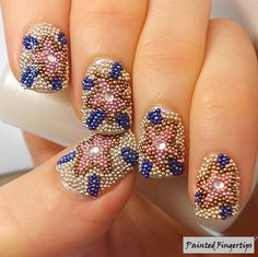 Microbead Mosaic - floral caviar nail design... #nails #beautyinthebag #Nailart